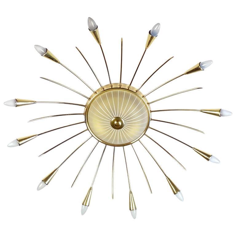 German Large Mid Century Modern Sputnik Ceiling Chandelier, Stilnovo Style, Brass Glass For Sale