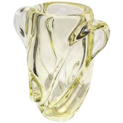 Modern Designed Sevres Yellow Crystal Vase