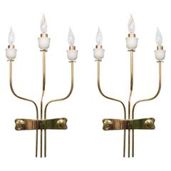 Pair of Three-Arm Brass Sconces with Flower Bobeches