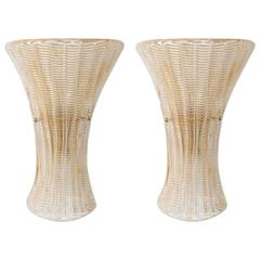 Pair of Fluted Gold Flecked Sconces