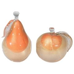 Midcentury Alfredo Barbini Italian Art Glass Fruit Bookends in Orange and Gold