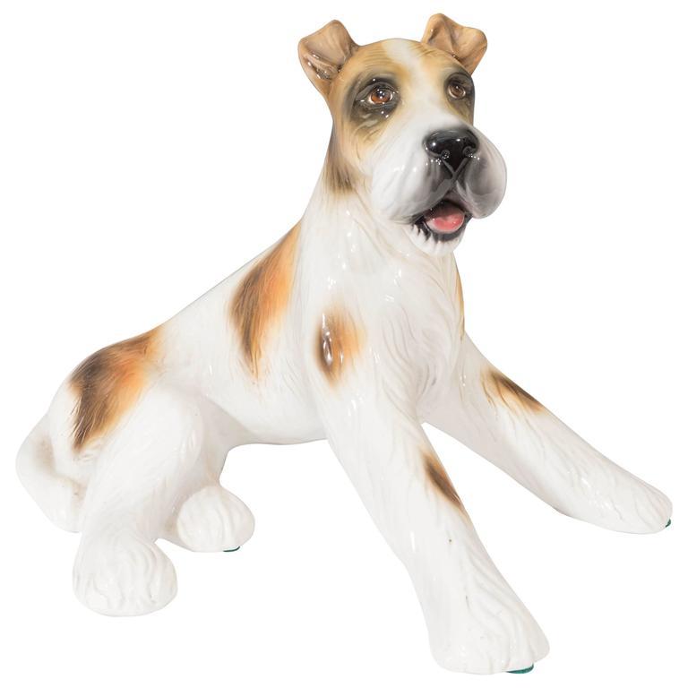 Mid Century Italian Ceramic Terrier Dog Sculpture For