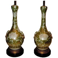 French Celadon Floral Table Lamps