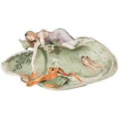 Art Nouveau Decorative Ceramic Bowl with Sea Maidens by Amphora