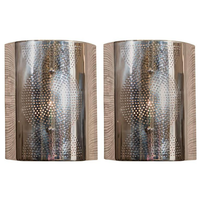 Pair of contemporary modern cylindrical wall sconces in chrome for sale at 1stdibs - Cylindrical wall sconce ...