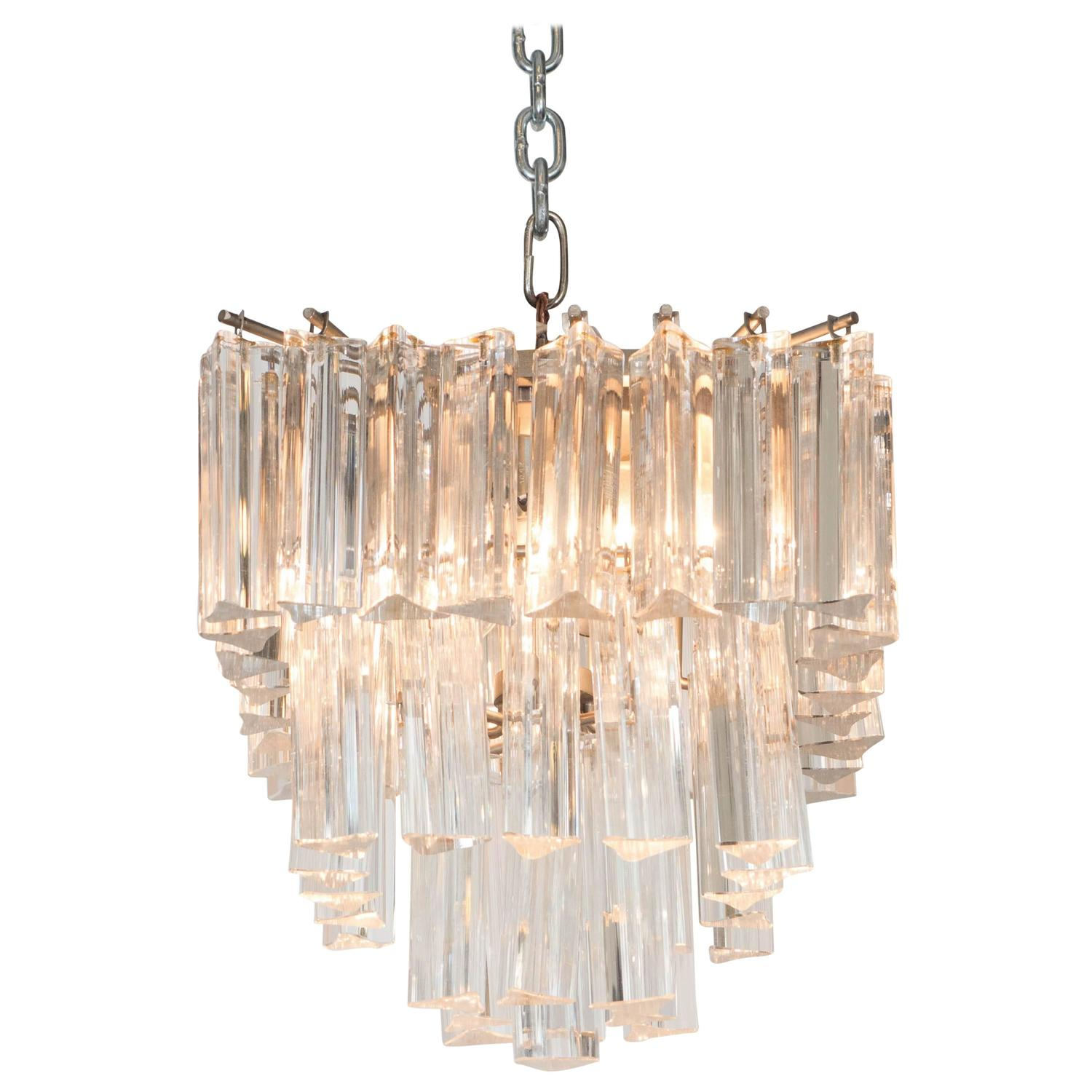 Murano Prism Chandelier: Petite Three-Tier Venini Chandelier With Murano Glass