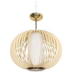1970s Round Cage Pendant with Milk Glass Shade