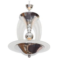 French Art Deco Chandelier in Chrome and Glass