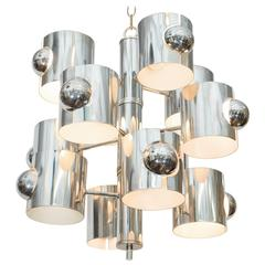 Sciolari Twelve-Light Chandelier in Chrome