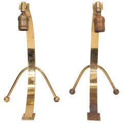 Pair of Midcentury Arc Table Lamps in Brass