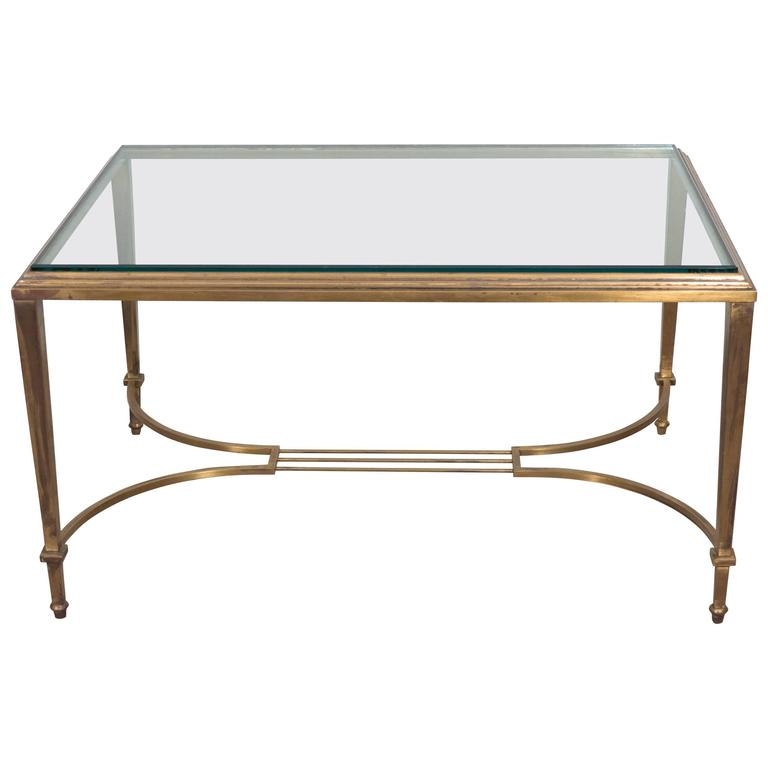 Neoclassical Style Glass Top Coffee Table in Brass, Attributed to Maison Jansen