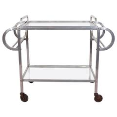 French 1930s Rolling Bar Cart & Tray in Aluminum with Mirrored Tops