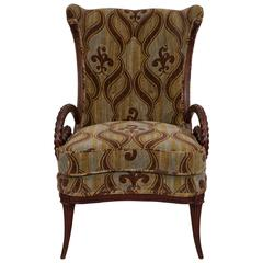 Mid-Century Grosfeld House Mahogany Armchair with William Morris Fabric