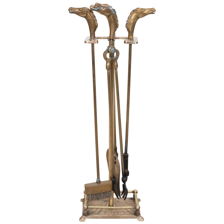 diamond handle brass fireplace tool set for sale at 1stdibs