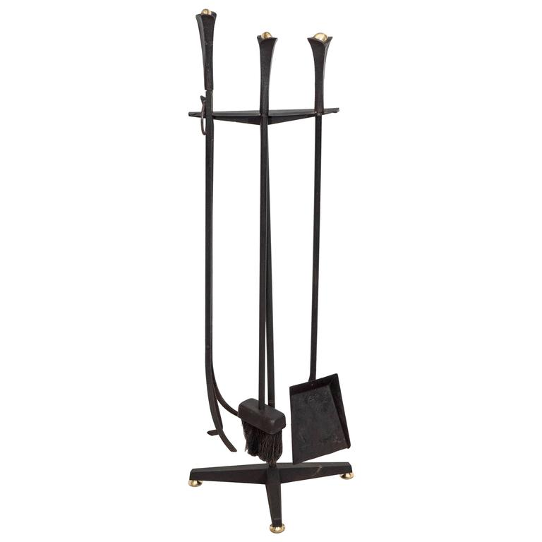 Set Of Donald Deskey Wrought Iron Fireplace Tools On Stand For Bennett Co For Sale At 1stdibs