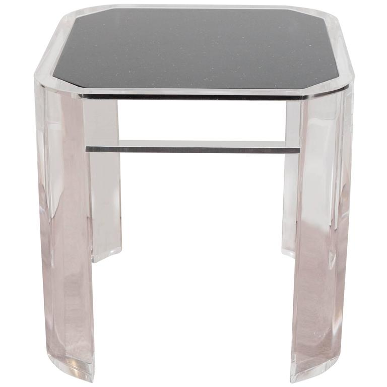 Karl Springer Style Lucite Side Table With Black Faux Granite Top