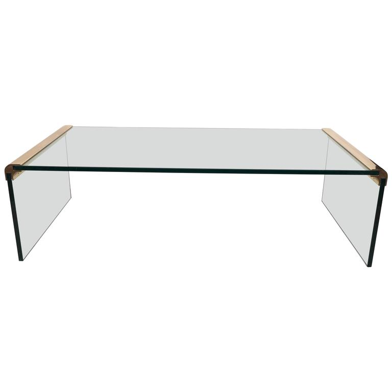 Pace Collection Glass Waterfall Coffee Table with Brass Trim 1 - Pace Collection Glass Waterfall Coffee Table With Brass Trim At