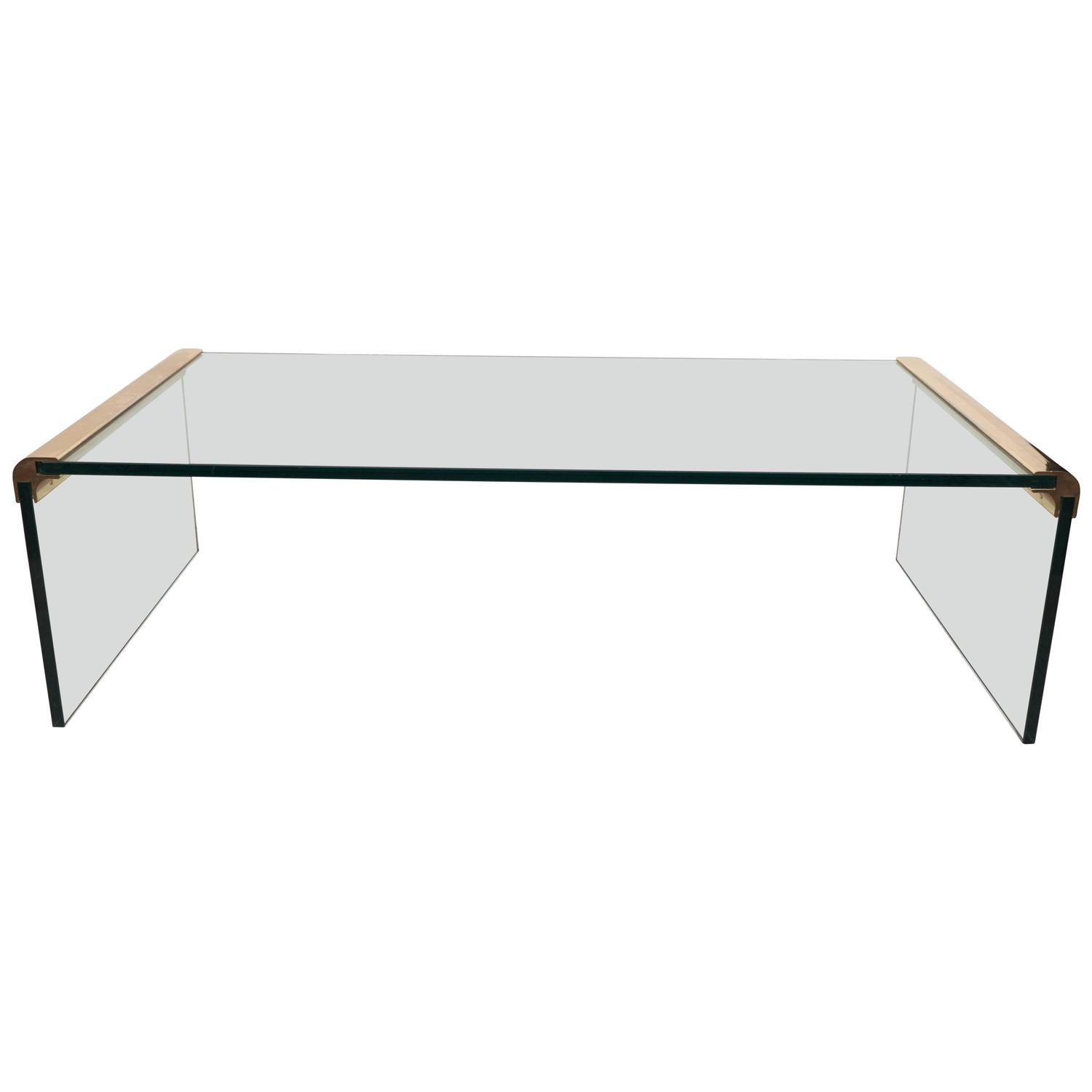 Pace Collection Glass Waterfall Coffee Table with Brass Trim at