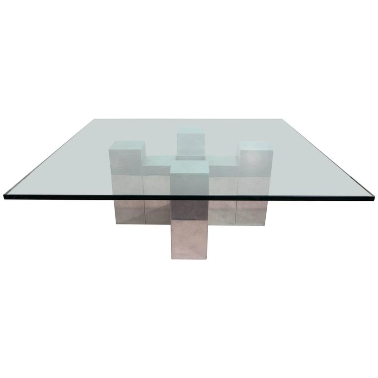 Modernist Glass Top Coffee Table in the Manner of Paul Evans