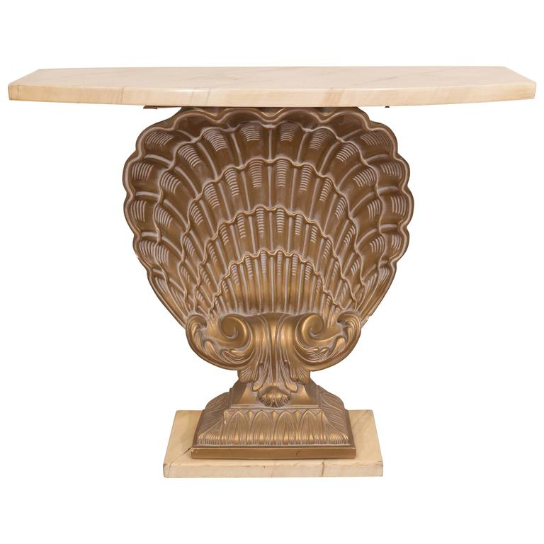 Grosfeld House Console Table on Gilded Shell Base