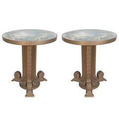 Pair of Grosfeld House Gueridon Tables with Reverse Painted Mirrored Tops