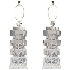 Pair of Stacked Triangular Lucite Table Lamps