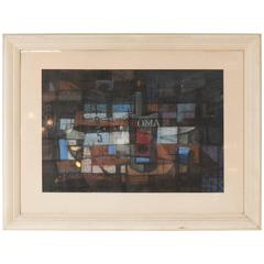 Midcentury Cubist Pastel on Paper, Signed and Framed