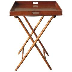 19th C English Regency Butlers Tray Table with Faux Bamboo Legs
