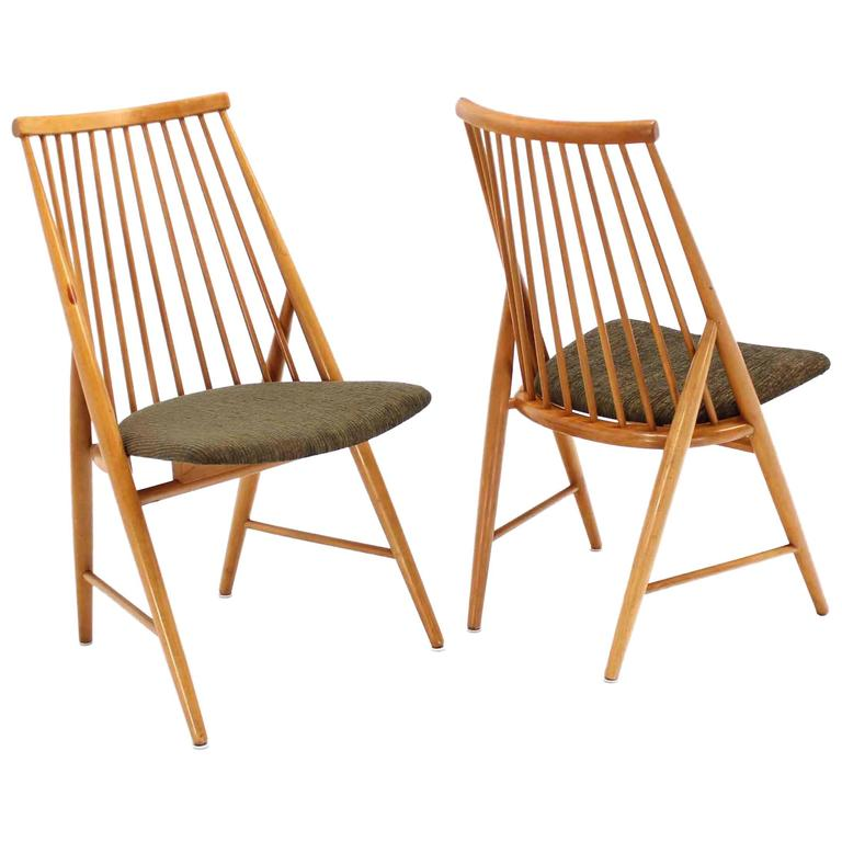 Pair of Swedish Spindle Dowel Back Chairs