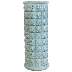Antique French Robin's Egg Blue Longchamp Faience Umbrella Stand or Planter