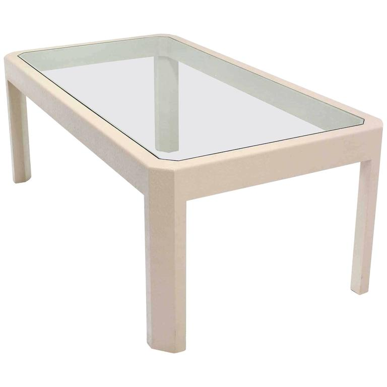lacquered cloth frame glass top rectangular dining table