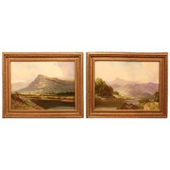 "Pair of Oil Paintings ""The Vale of Conway"" by Thomas Yarwood"