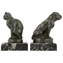 French Art Deco Cat and Bulldog Bookends by Max Le Verrier, 1930