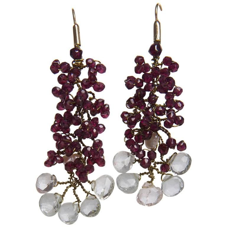Acquamarina and Garnet modern Italian Earrings on Gold; hand made