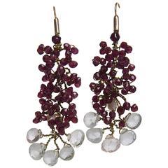 Acquamarina and Garnet modern Italian Earrings on Gold; hand made