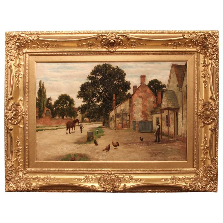 """A Village Street"" Oil Painting by Richard Halfnight For Sale"