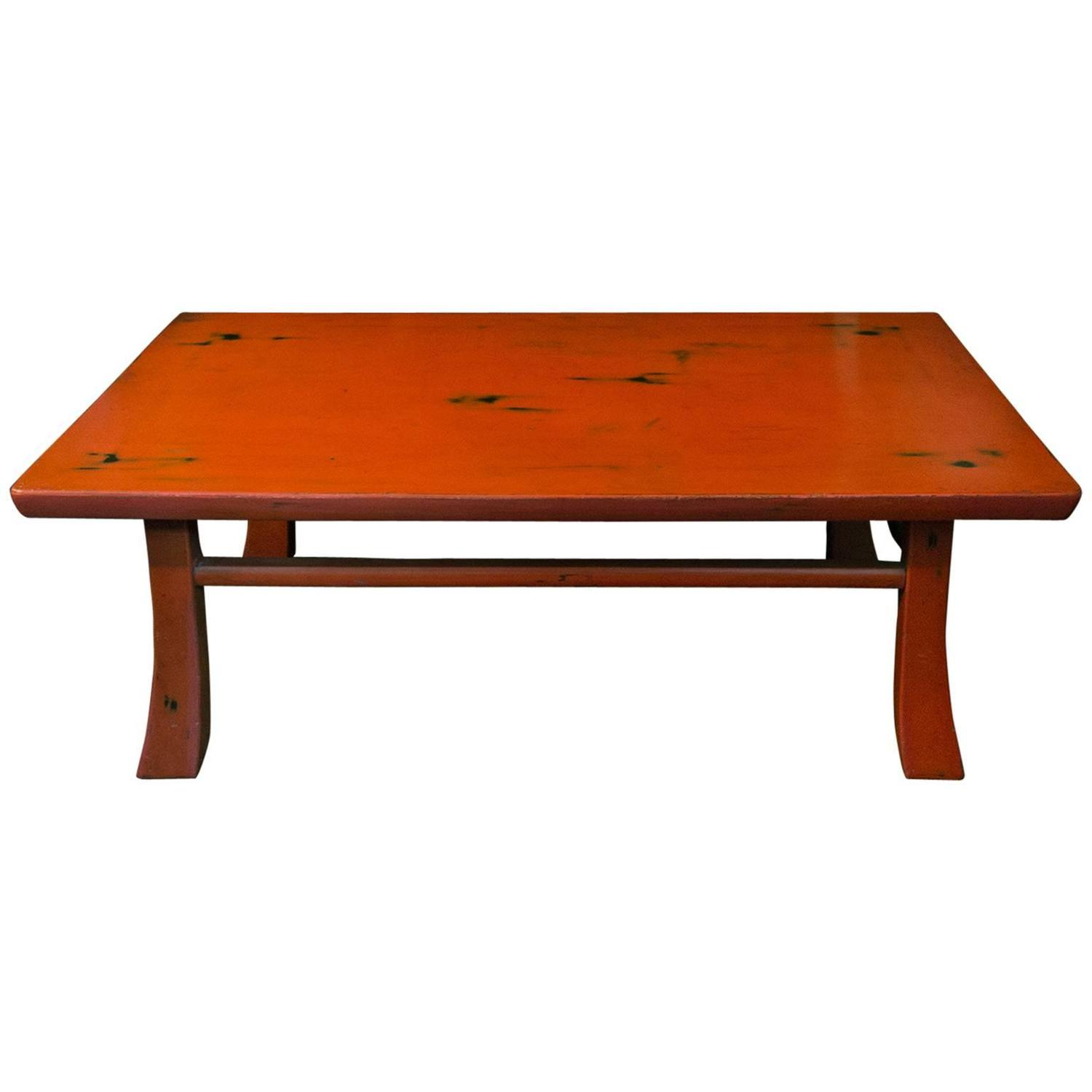 Vintage Japanese Style Negoro Nuri Lacquer Low Table For