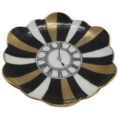 Fornasetti for Bergdorf Goodman Porcelain Trinket Dish with Clock Motif