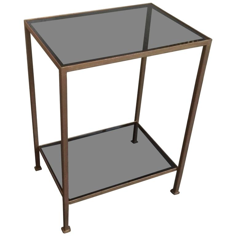 marcelo iron end table with grey glass shelves for sale at. Black Bedroom Furniture Sets. Home Design Ideas