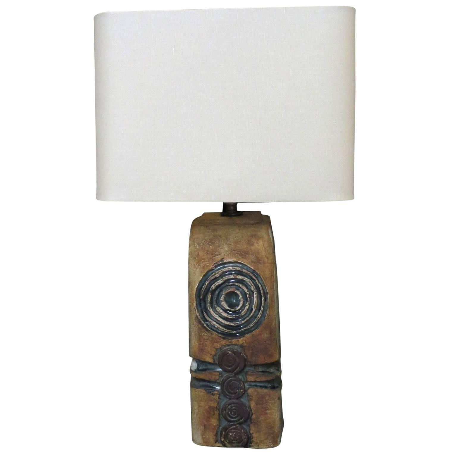 French Mid-Century, Sandstone Sculpture Unique Piece, Vallauris Table Lamp