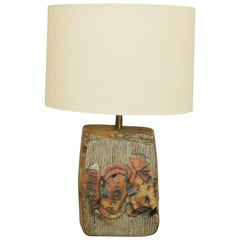 French Midcentury Vallauris Sandstone Modernist Table Lamp, Unic Piece