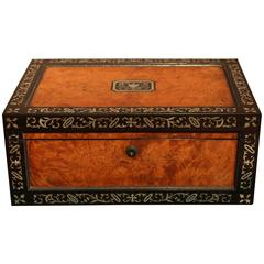 Fine Mid-19th Century Elm and Mother of Pearl Jewellery Box, circa 1850