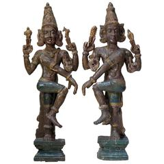 Large Polychrome Statues of Vishnu, India, 19th Century or Earlier