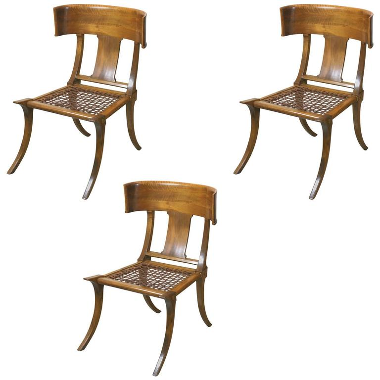 T.H. Robsjohn-Gibbings Klismos Chairs by Saridis, Athens For Sale