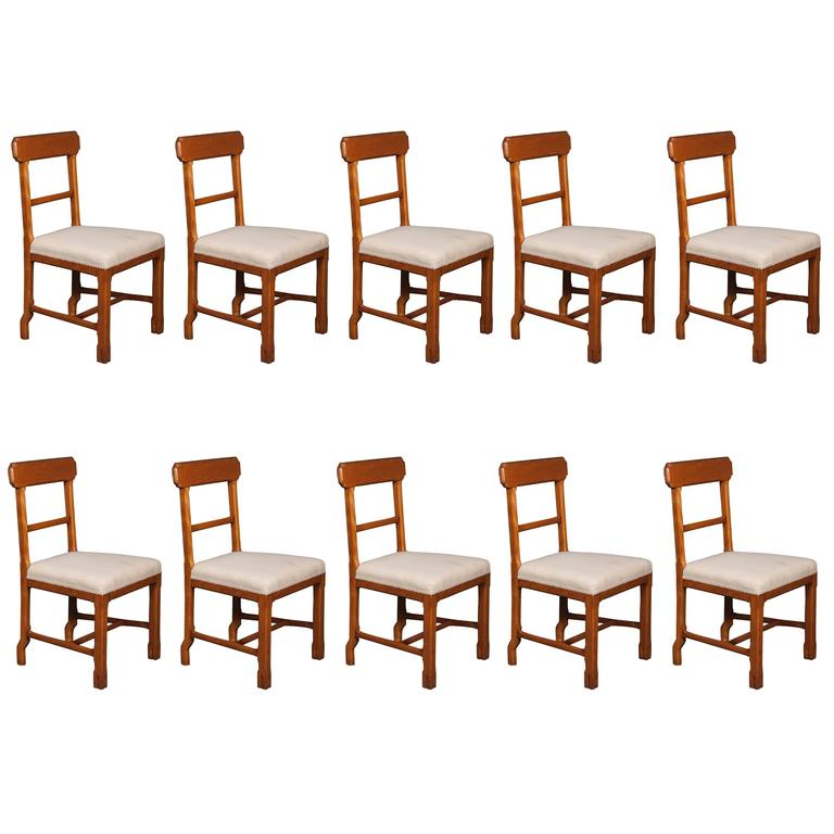 Matched Set of Ten Arts & Crafts Dining Chairs For Sale
