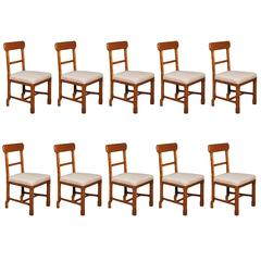 Matched Set of Ten Arts & Crafts Dining Chairs