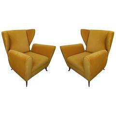 Pair Italian Mid-Century Italian Lounge Chairs or Armchairs By ISA