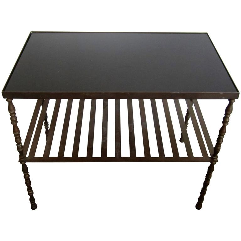 Vintage Bronze And Black Glass Top Bookcase, Bar Or End