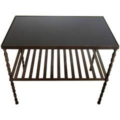 Vintage Bronze and Black Glass Top Bookcase, Bar or End Table, French