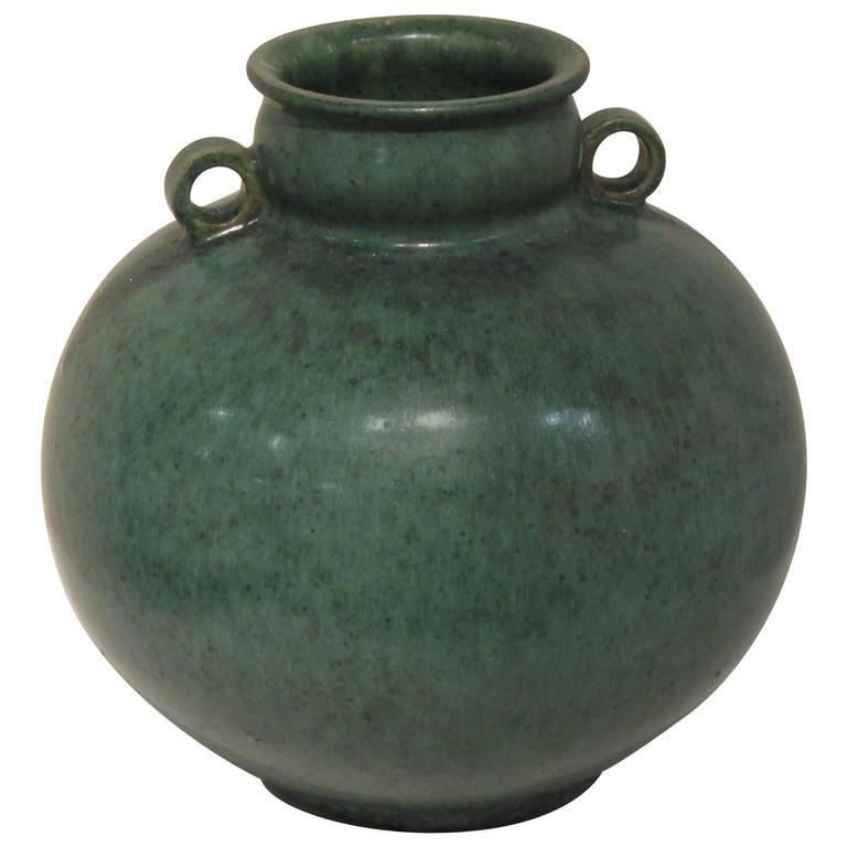 Green Glazed Vase by Arne Bang, 1940s For Sale